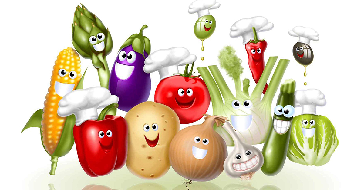 Открытка поздравление, смешные овощи в рисунках